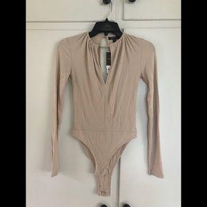 NEW Topshop nude beige bodysuit 2 NWT